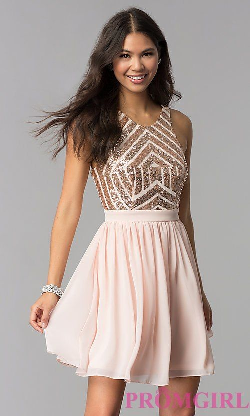 aa587a4a829 Sleeveless Short Rose Gold Homecoming Dress in 2019 | HOCO | Rose ...