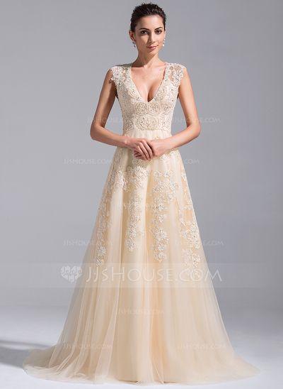 [Kr 2 526] A-linjeformat V-ringning Court släp Tyll Bröllopsklänning med Pärlbrodering Applikationer Spetsar Paljetter