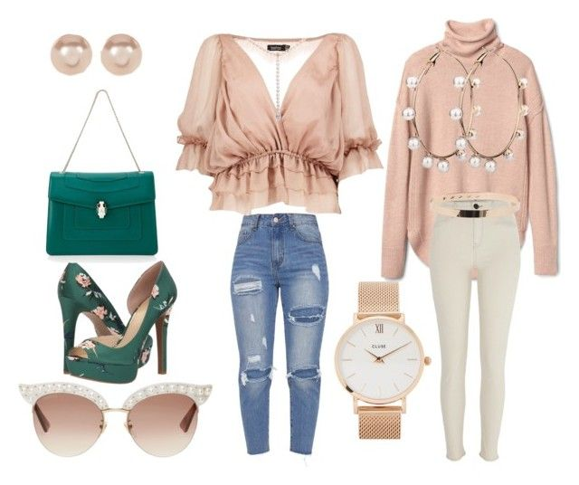 """Untitled #13"" by nony4-5n on Polyvore featuring Boohoo, Jessica Simpson, Bulgari, River Island, Nordstrom Rack, CLUSE and Gucci"