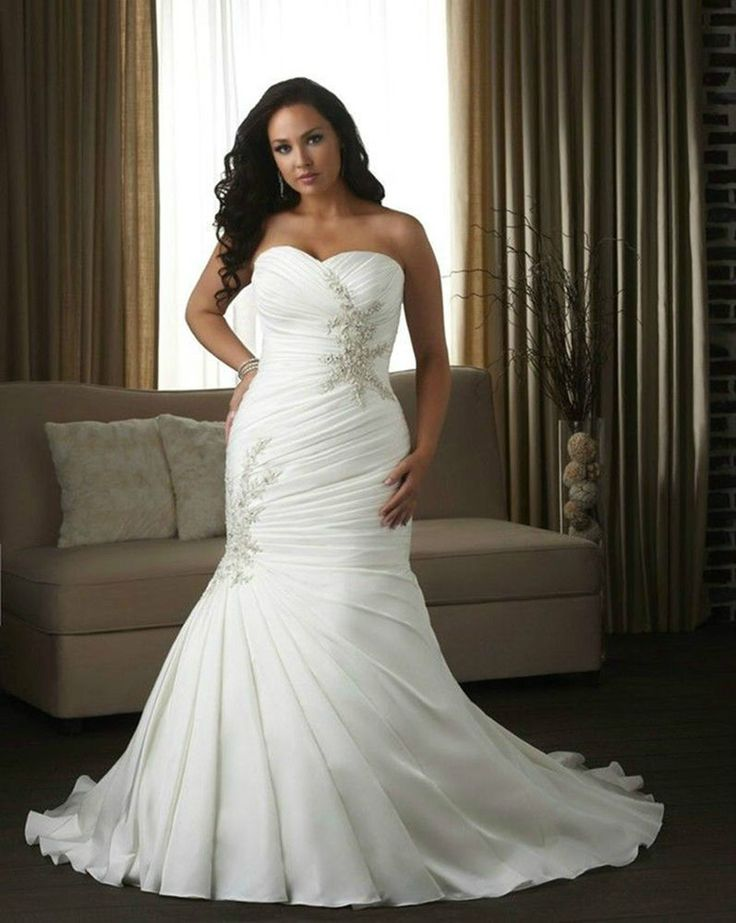 Plus Size Mermaid Wedding Dress Pleated Bridal Gowns Custom Size 18 20 22 24 26+ | this is what Jake and I picked out together... I just cant afford a wedding dress :(