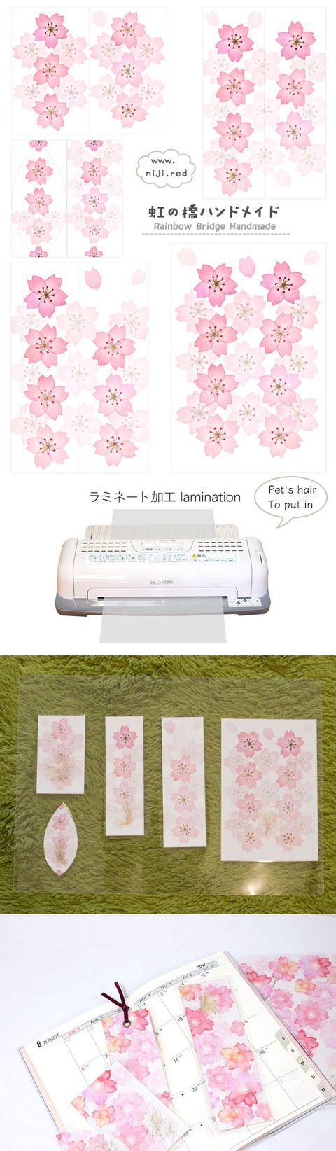 handmade-bookmarkHOWTO 虹の橋ハンドメイドから手作りしおりの紹介です。水彩画の桜デザインのしおり5枚セットです。ペットがいる方はペット毛をお入れいたします。
