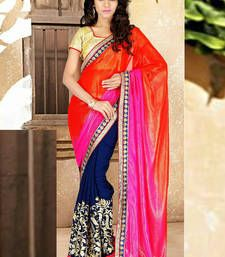 Buy MultiColour embroidered Georgette saree With Blouse party-wear-saree online