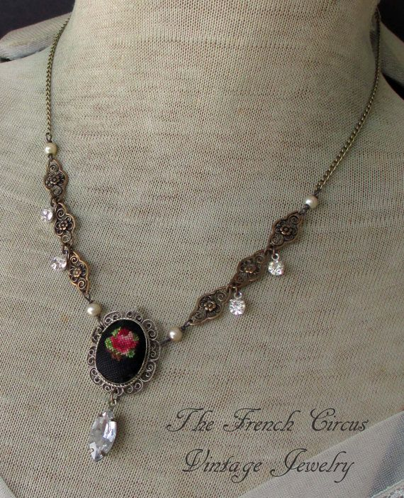 Petit jardin vintage assemblage necklace and by for Jardin necklace