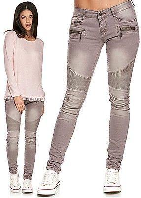 968f6ef7496b85 Seventyseven Lifestyle Damen Biker Jeans Hose 5-Pockets medium grau denim -  Art.-