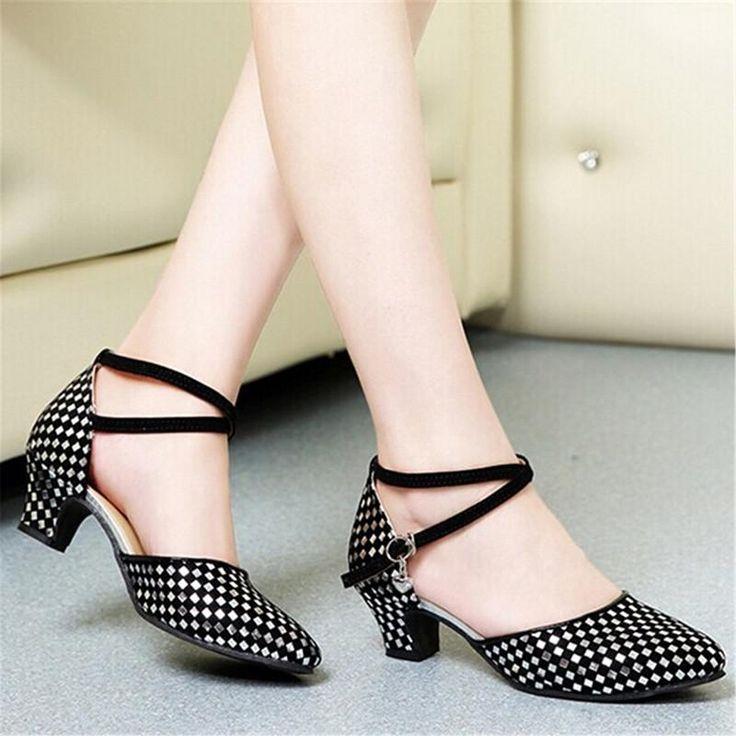 Womens Leather Flat Heel Sqaure Dancing Shoes