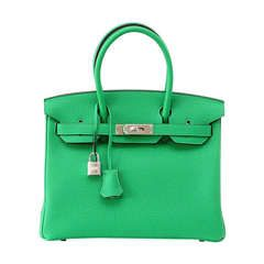 HERMES BIRKIN 30 brilliant Bamboo palladium hardware new colour