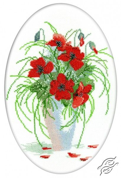Poppies In Vase - Cross Stitch Kits by RTO - R280