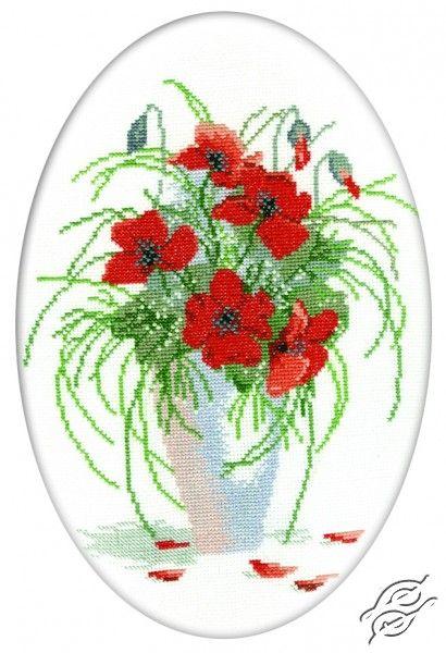 Poppies In Vase - Cross Stitch Kits by RTO - R280
