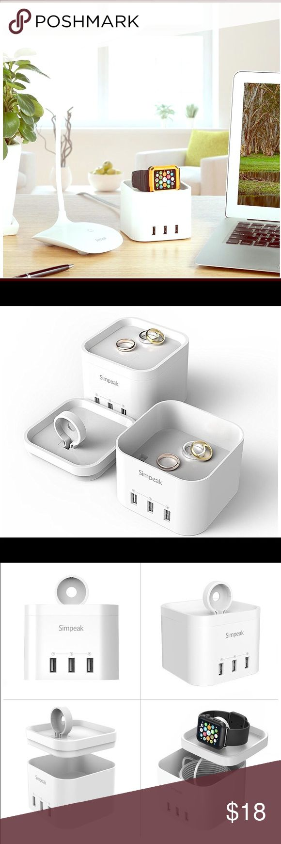 Smart Charging for All Ports and jewelry holder With built-in smart chips, each port can automatically detects your device and delivers fastest charge required (up to 2.4 amps). Package Includes  1 x Apple Watch Charging Stand with Universal USB Port  1 x AC Power Cable  1x User Manual Other