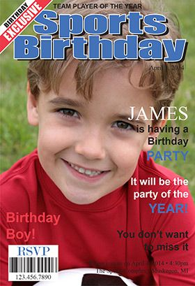 """""""Sports star magazine cover"""" printable invitation. Customize, add text and photos. print for free!"""