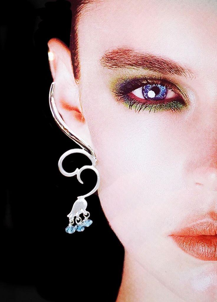 Sterling silver & aquamarine bead climber earrings.