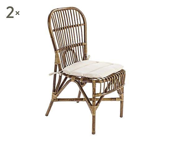 Set di 2 sedie in rattan Samara miele, 47x96x59 cm