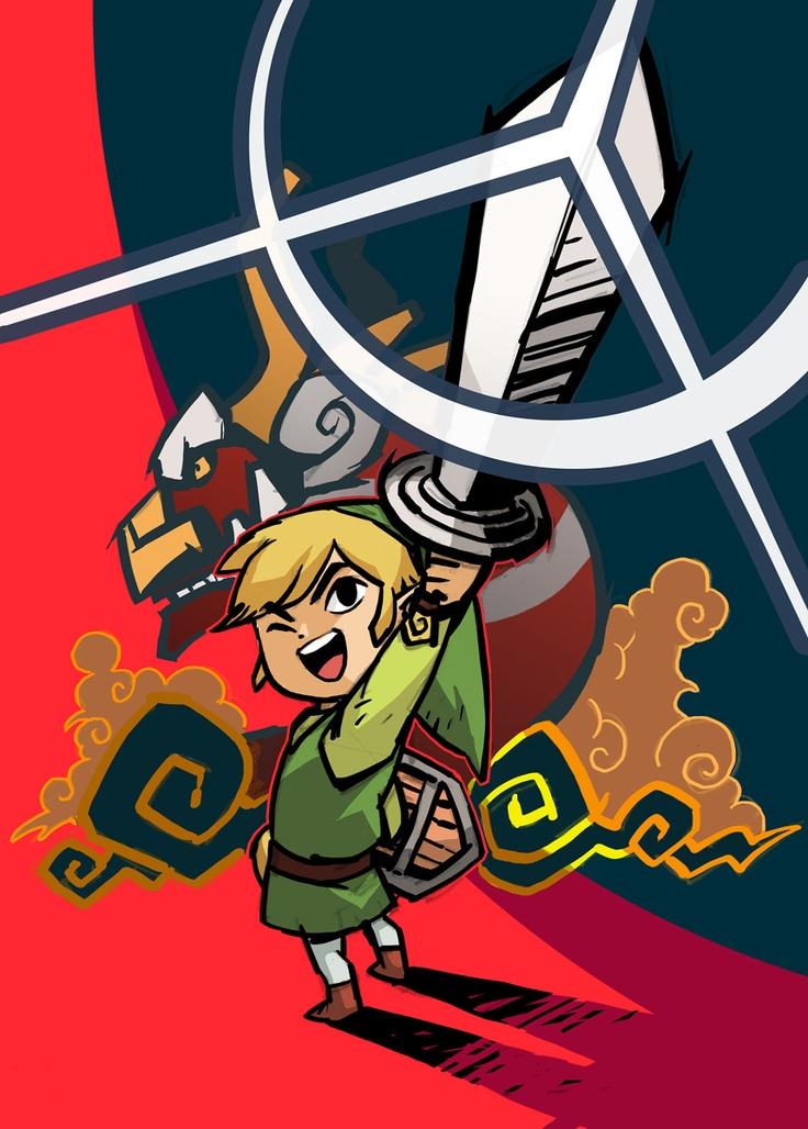 Link-mostly in the same cartooning as Spirit Tracks.