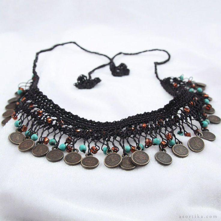 asortika.com dükkanları Doğal taşlı boncuklu firkete işi siyah el yapımı kolye