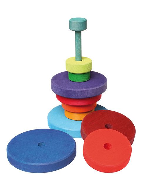 This beautiful conical stacking tower by Grimms, Spiel and Holz Design is hand crafted in Germany.Their wooden toys are designed to help children discover and develop their own creativity and sensory awareness. The classic stacking tower is many children's favourite and a timeless toy.
