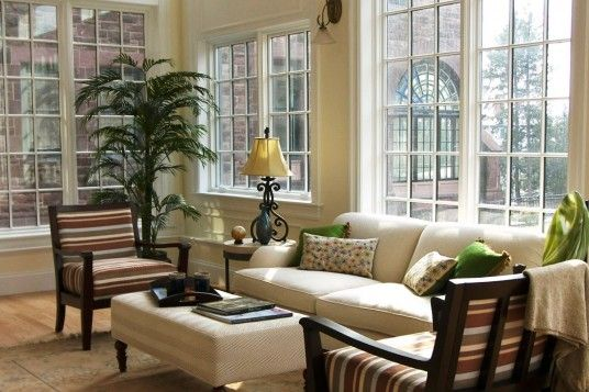 ... Greenery Elements, Wooden Furniture Set And Cool Cream Sofa With  Pop Ups Floral Green Pillows. Cool Decorating Ideas For Interior Sunrooms