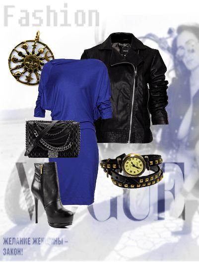 Синее платье с черной кожаной курткой и черными ботильонами