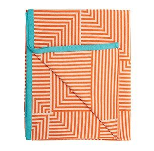 Nanna D orange/hvid/mint plaid / knitted blanket / 100% wool / made in denmark