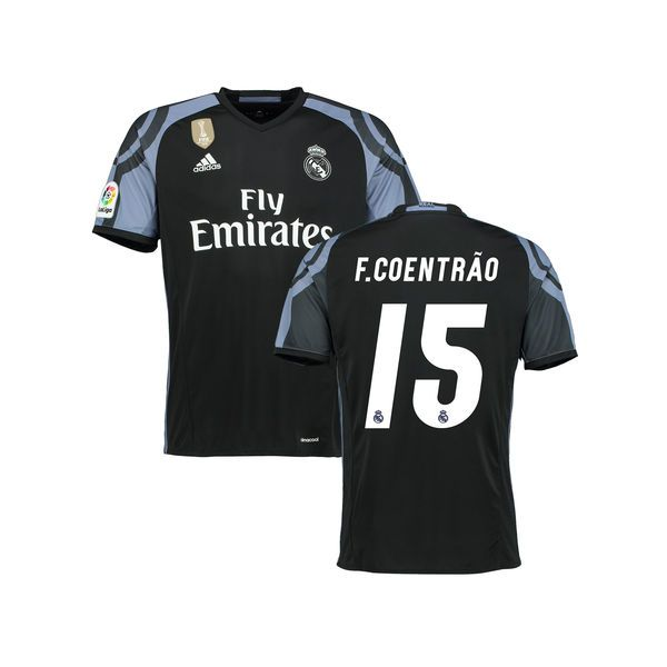 Fabio Coentrao Real Madrid adidas Youth 2016/17 Third FIFA World Cup Champions Patch Replica Jersey - Black - $94.99