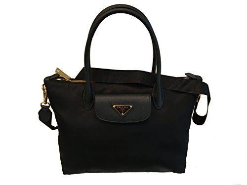 6b6876a2e5 SALE PRICE - $1390 - Prada Black Tessuto Saffiano Nylon Shopping Tote Bag  1BA106