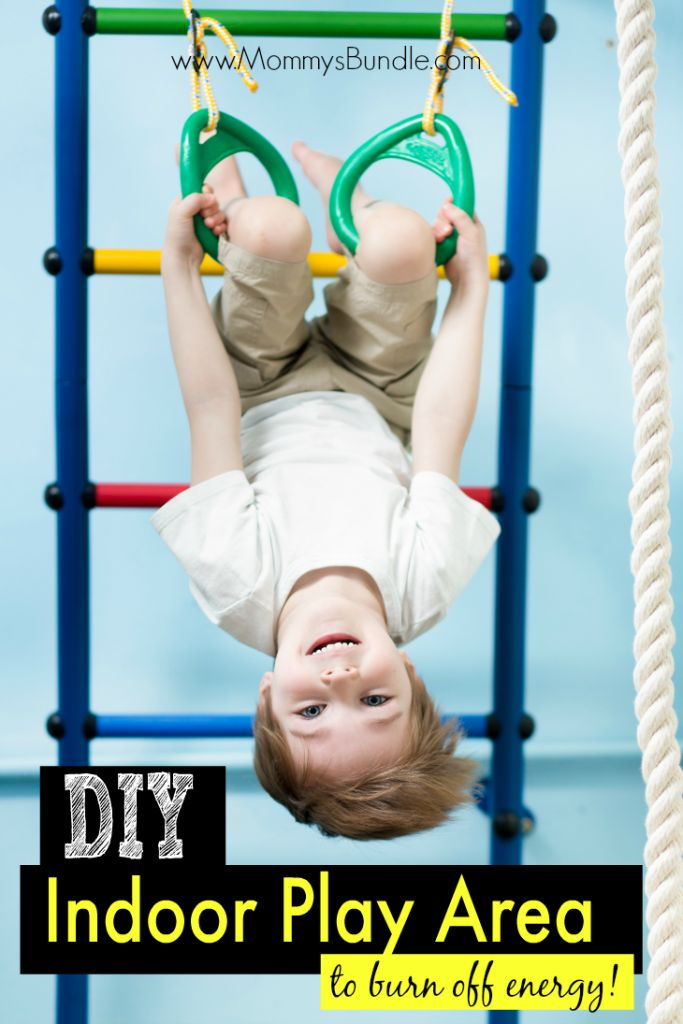 DIY play gym -- a FUN way to help toddlers burn off energy during the cold or winter months when stuck indoors!