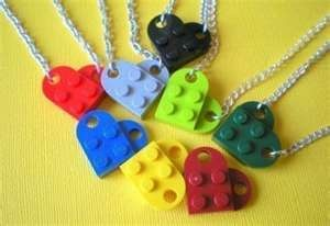 Lego heart necklaces