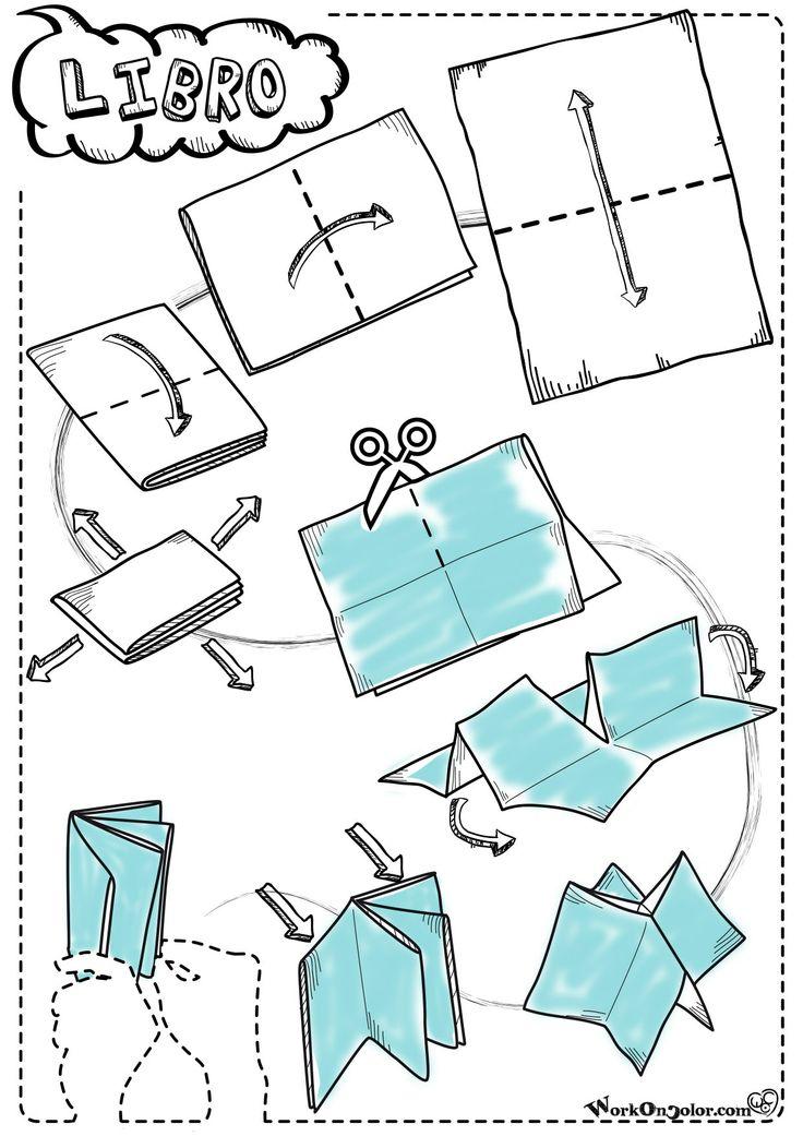 #origami #template per piccoli libri da 6 pagine. Da un semplice foglio A4 puoi ricavare un mini-libro! Usalo con le storie di Buffo Natale!