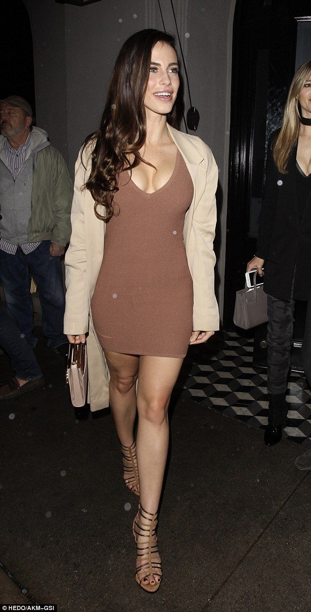 Busty beauty: Jessica Lowndes, 28, flaunted her ample assets in a sexy bodycon dress while...