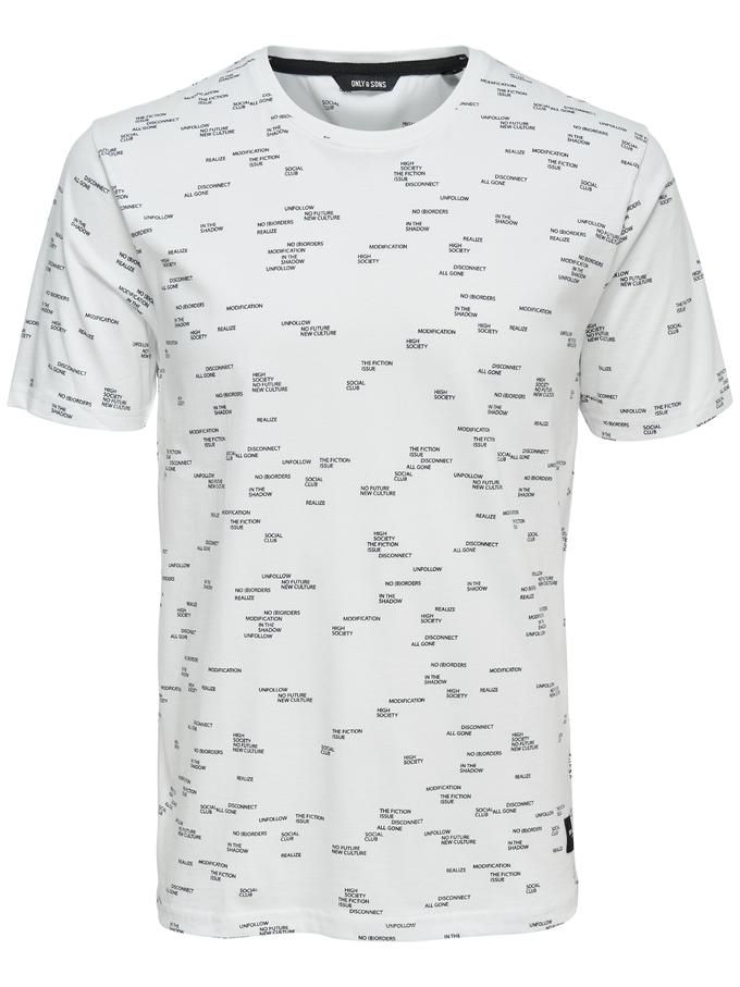 ALL-OVER TEXT PRINT T-SHIRT WHITE