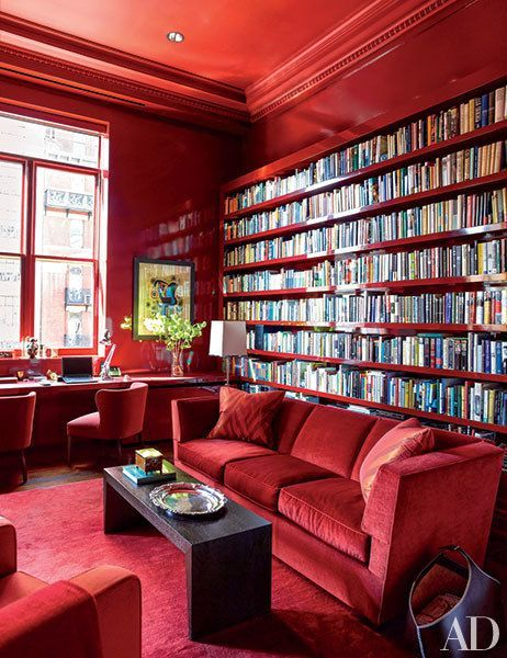 20 Stunning Home Libraries That Will Give You Shelf Envy Red RoomsBlack InteriorsHome LibrariesRoom DecorationsSitting