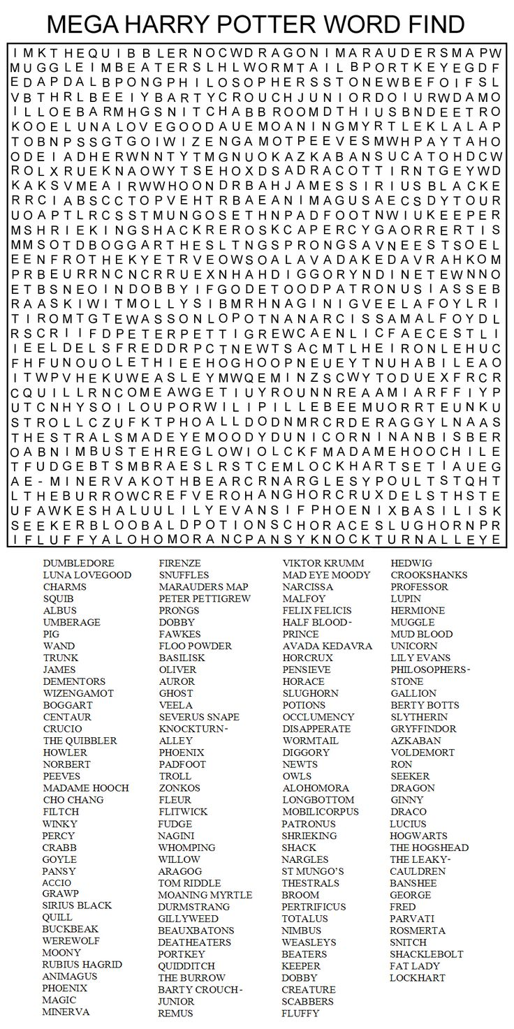 Hard Printable Word Searches for Adults | MEGA HARRY POTTER WORD FIND by Kinky-chichi                                                                                                                                                                                 More