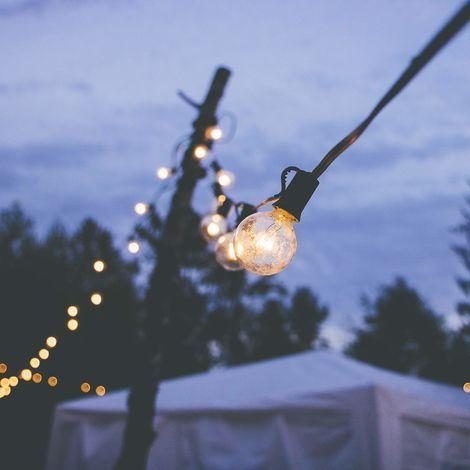 Guirlande lumineuse guinguette 25 globes blanc chaud pour intérieur/extérieur