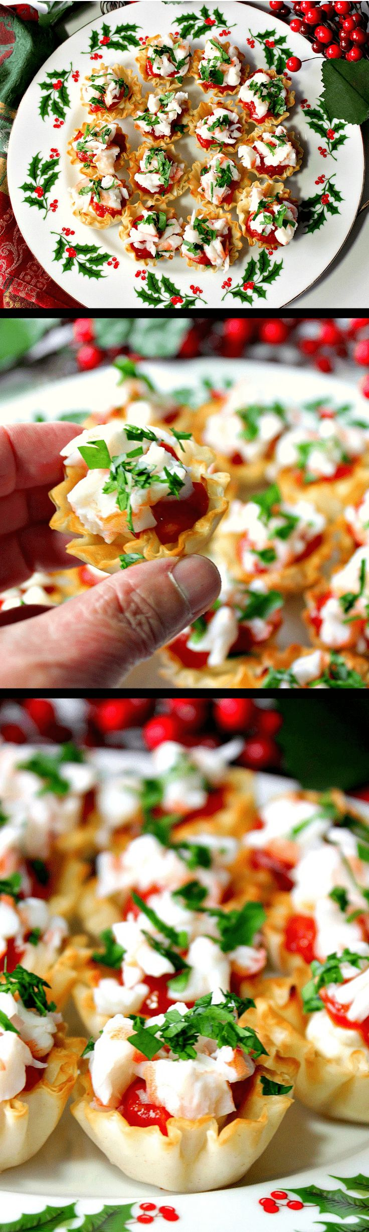 These festive Shrimp Cocktail Appetizer Bites take only minutes to make, but they look like you slaved for hours. Plus they cheap and cheerful which makes them perfect for this, or any, holiday gathering. - Kudos Kitchen by Renee