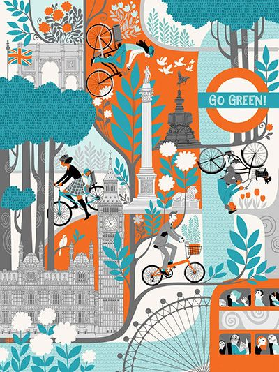 The London Transport Museum, which hosts one of the world's most important collections of graphic art, asked illustrators to draw the links between cycling in the capital, environment issues, health and fun
