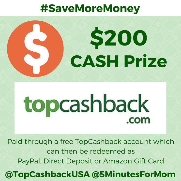 Enter to win $200 Cash Prize that will be paid directly through a free TopCashback account which can then be redeemed for PayPal, Direct Deposit or Amazon Gift Cards. The giveaway is open to residents of the US/CAN only and ends June 6, 2015.