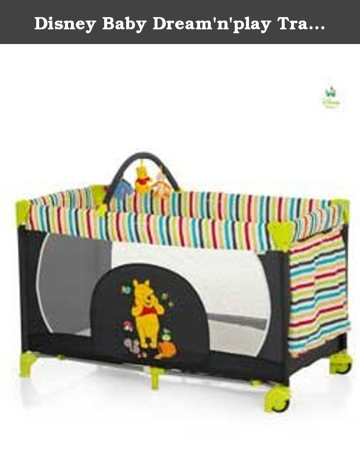 Disney Baby Dream'n'play Travel Cot - Pooh Tidy Time. A basic travel bed for travelling or at home. The practical Dream'N'Play travel bed has two solid end panels and two mesh sides so you can see your child at all times. One end has a convenient pocket for keeping toys' or baby essential items close at hand. Travel cot features: The included toy bar will also help keep baby entertained. Removable mattress included. Detachable toys included. Carry bag included for easy of transportation....