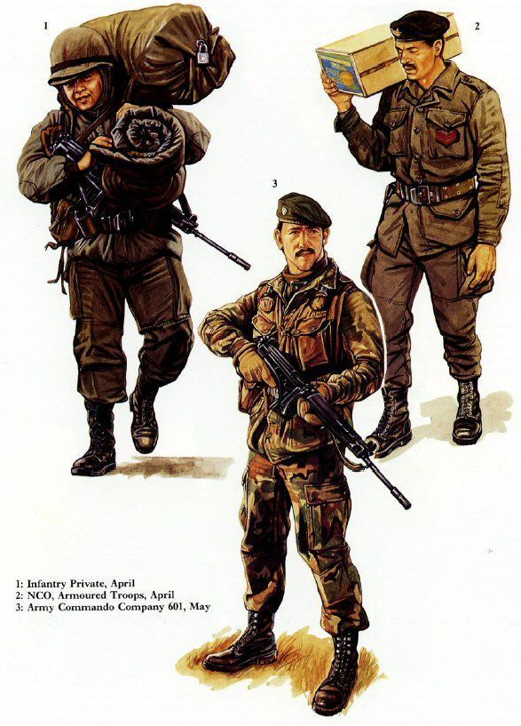 1-Infante argentino,abril 1982. 2-Soldado argentino,tropas mecanizadas…