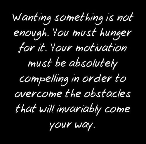"""""""Wanting something is not enough. You must hunger for it. Your motivation must be absolutely compelling in order to overcome the obstacles that will invariably come your way."""" #temperance #quote"""