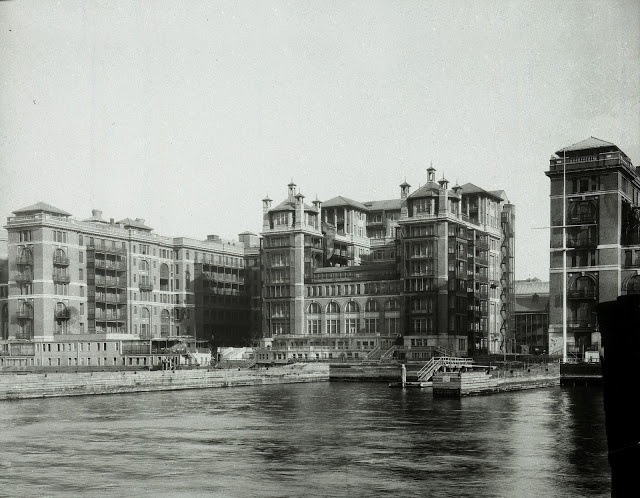 Bellevue from the waterfront, 1879.  Proximity to the shoreline -- which once gave the original mansion here that belle vue -- was key in the early years of Bellevue, as sometimes it was the fastest way to get to the hospital when roads were less than ideal. (Courtesy NYC HHC)