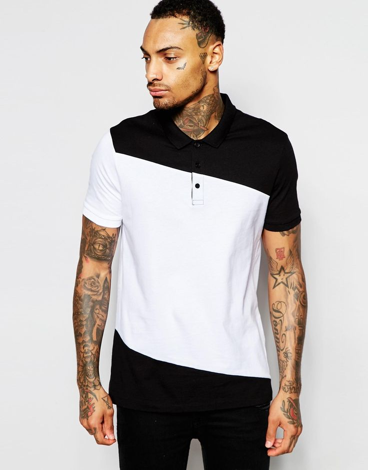 ASOS Polo Shirt With Cut & Sew Diagonal Panel
