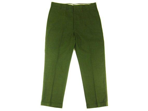 SALE Vintage Slacks in Olive Green - Farah Trousers Pants Preppy Suit Ivy League Menswear - Men's Size 38 W / 28 L Large Lrg L