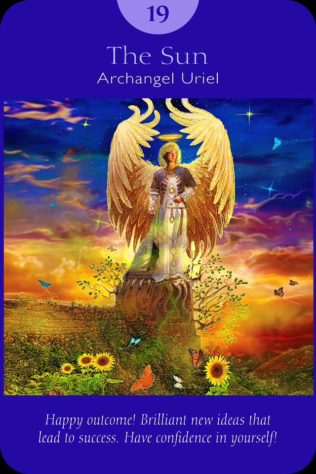 XIX. The Sun - Archangel Uriel  - Angel Tarot Cards by Doreen Virtue and Radleigh Valentine. Artwork by Steve A. Roberts