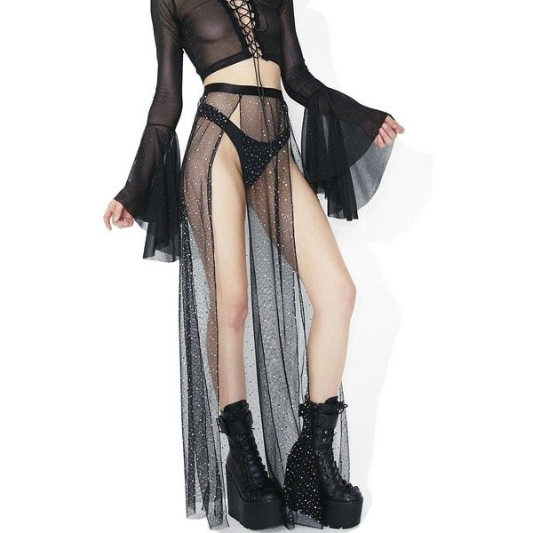 Club Exx Evil Beatz Sheer Maxi Skirt (175 HRK) ❤ liked on Polyvore featuring skirts, long maxi skirts, sheer skirt, long elastic waist skirt, ankle length skirts and long skirts