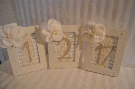 picture frames for table numbers....duh!: Framed Table Numbers, Frames Tables Numbers, Wedding Tables Numbers, Frames Numbers, Numbers Duh, Numbers Ideas, Pictures Frames, Awesome Etsy, Small Flowers