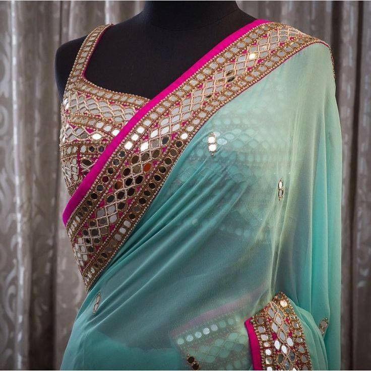 Beautiful Mirror work Blue Bollywood Designer sarees ,Veeshack.com | Fashion for the World