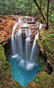 Turquoise waterfall, Brazil