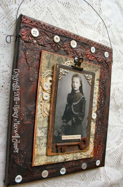 Altered Canvas by @Nancy Maxwell James. paperwhimsy pretty face