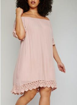Plus Size Off the Shoulder Peasant Dress with Crochet Trim - 8476056128446