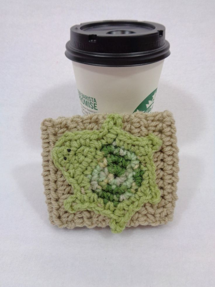 Tan Crochet Coffee Cup Cozy with Turtle Embellishment, Crocheted Coffee Cup Sleeve with Green Turtle, Mothers Day Gift for the Coffee Lover by crochetedbycharlene on Etsy