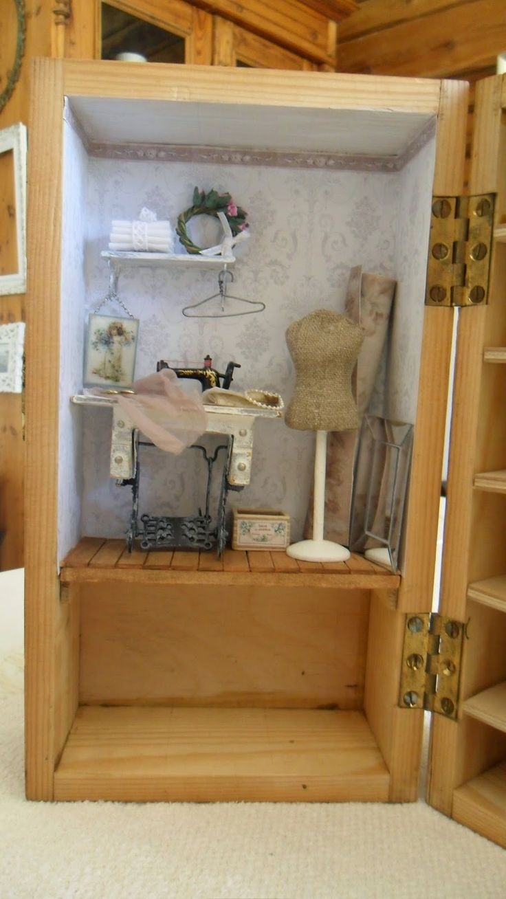 A small sewing room in an old box